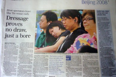 "Headline reads ""Dressage proves not a draw just a bore"" with pictures of people asleep"